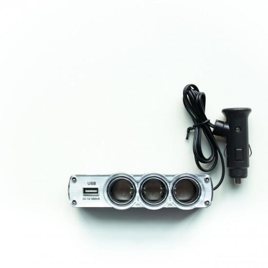TYPE-R ที่จุดบุหรี่ 3 ช่องทางพร้อมช่อง USB # TR-120